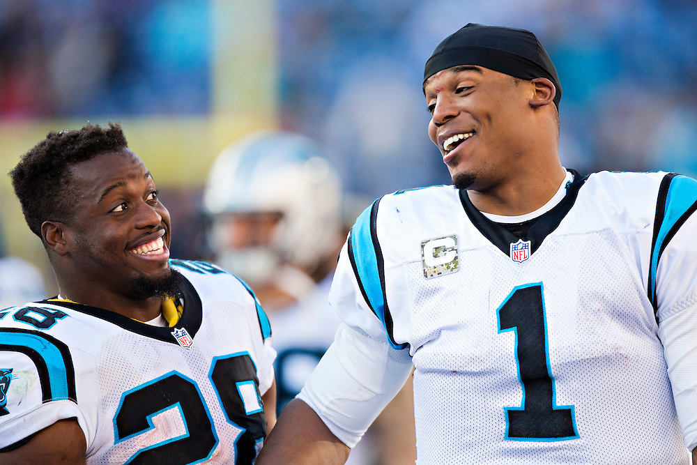 NASHVILLE, TN - NOVEMBER 15:  Cam Newton #1 and Jonathan Stewart #28 of the Carolina Panthers on the sidelines during a game against the Tennessee Titans at Nissan Stadium on November 15, 2015 in Nashville, Tennessee.  (Photo by Wesley Hitt/Getty Images) *** Local Caption *** Cam Newton; Jonathan Stewart