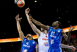 Pau Gasol of Spain between Joakim Noah of France and Florent Pietrus of France during final basketball game between National basketball teams of Spain and France at FIBA Europe Eurobasket Lithuania 2011, on September 18, 2011, in Arena Zalgirio, Kaunas, Lithuania. (Photo by Vid Ponikvar / Sportida)