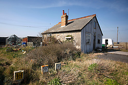 UK ENGLAND DUNGENESS 24MAR12 - A disused gut near the Dungeness shingle beach on the Kent coast. It is the  largest area of open shingle in Europe, measuring 12 km by 6 km, which has been deposited by the sea and built up over thousands of years.....jre/Photo by Jiri Rezac....© Jiri Rezac 2012