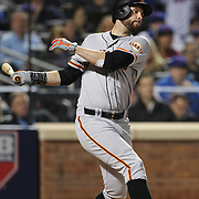 NEW YORK, NEW YORK - October 5: Brandon Belt #9 of the San Francisco Giants batting during the San Francisco Giants Vs New York Mets National League Wild Card game at Citi Field on October 5, 2016 in New York City. (Photo by Tim Clayton/Corbis via Getty Images)
