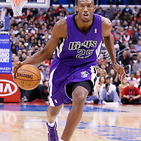 23 November 2013: Sacramento Kings small forward Travis Outlaw (25) dribbles during the Los Angeles Clippers 103-102 victory over the Sacramento Kings at the Staples Center, Los Angeles, California, USA.