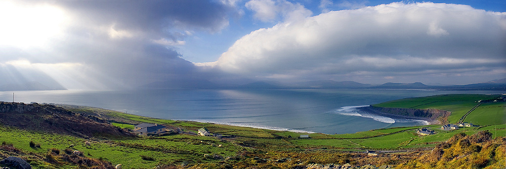 Panoramic View overlooking Ballinskelligs Bay near Waterville, N70, Ring of Kerry, Ireland / wv023
