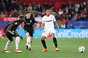 Sevilla forward Luis Muriel (20) with Manchester United Midfielder Paul Pogba looking on during the Champions League match between Sevilla and Manchester United at the Ramon Sanchez Pizjuan Stadium, Seville, Spain on 21 February 2018. Picture by Phil Duncan.