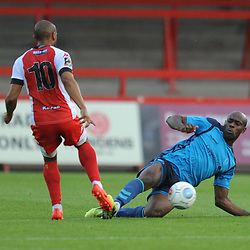 TELFORD COPYRIGHT MIKE SHERIDAN 7/8/2018 - Theo Streete of AFC Telford tackles  Ashley Chambers during the National League North fixture between Kidderminster Harriers FC vs AFC Telford United.