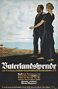 World War I German Poster, 1918, asking for contributioins to the Fatherland Fund to establish homes where disabled veterans could recover.  Woman points to  a seaside resort.