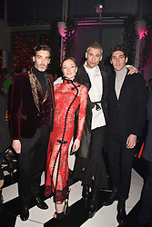 Left to right, Richard Biedul, Clara Paget, Kyle De'Volle and Isaac Carew at Sambazonia presented by Sushisamba and Cool Earth at SushiSamba, 110 Bishopsgate, City of London England. 28 February 2017.