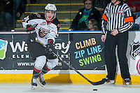 KELOWNA, CANADA - MARCH 15: Joel Hamilton #39 of the Vancouver Giants skates with the puck against the Kelowna Rockets on March 15, 2014 at Prospera Place in Kelowna, British Columbia, Canada.   (Photo by Marissa Baecker/Getty Images)  *** Local Caption *** Joel Hamilton;