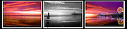 Santa Monica Bay, Pacific Park, Pier, B/W, color, Triptych Fiery Sunset