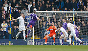 Leeds United defender Pontus Jansson heads onto the Bolton cross bar during the EFL Sky Bet Championship match between Leeds United and Bolton Wanderers at Elland Road, Leeds, England on 30 March 2018. Picture by Paul Thompson.