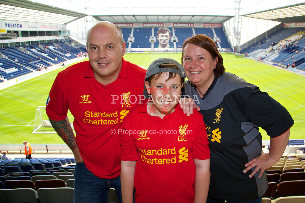 PRESTON, ENGLAND - Saturday, July 13, 2013: Liverpool supporters Doug, Jack and Laura from West Sussex before a preseason friendly match against Preston North End at Deepdale. (Pic by David Rawcliffe/Propaganda)