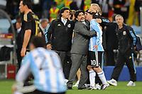 FOOTBALL - FIFA WORLD CUP 2010 - 1/4 FINAL - ARGENTINA v GERMANY - 3/07/2010 - DESPAIR DIEGO MARADONA AND LIONEL MESSI (ARG)<br /> PHOTO FRANCK FAUGERE / DPPI