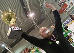 Head coach Henrik Alfredson of EHC Bregenzerwald with trophy for first place during 5th game of final INL league ice hockey match between HK Playboy Slavija and EHC Bregenwald at Dvorana Zalog, on April 3, 2013, in Ljubljana, Slovenia. (Photo by Matic Klansek Velej / Sportida)