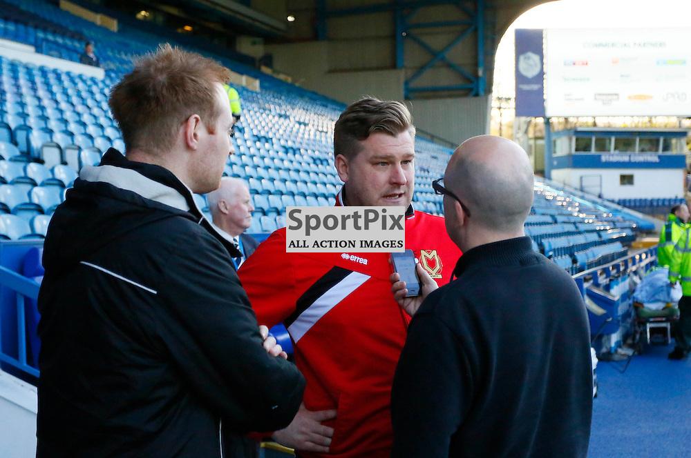 MK Dons gaffer Karl Robinson talks to the media before Sheffield Wednesday v Milton Keynes Dons, SkyBet Championship, Tuesday 19th April 2016, Hilsborough, Sheffield