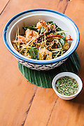 Battered calamari and prawns (khroeung samuh bampong masao) with lime and pepper dipping sauce (toek marek kroch chmar), Chanrey Tree restaurant, Siem Reap