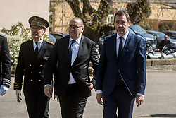 March 29, 2019 - Lyon, France - The Minister of the Interior Christophe CASTANER and the Secretary of State to the Minister of the Interior Laurent NUÃ'EZ were present at the naming ceremony of the 70th class of police commissioners at the Ecole National Supérieur de la Police (ENSP) in Saint Cyr au Mont d'Or near Lyon, France, on 29 March 2019. (Credit Image: © Nicolas Liponne/NurPhoto via ZUMA Press)