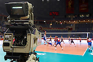 Polsat tv production - TV Licensed Broadcaster during FIVB Volleyball Men's World Championship Poland 2014 at Krakow Arena Hall in Cracow on September 04, 2014.<br /> <br /> Poland, Cracow, September 04, 2014<br /> <br /> For editorial use only. Any commercial or promotional use requires permission.<br /> <br /> Mandatory credit:<br /> Photo by © Adam Nurkiewicz / Mediasport