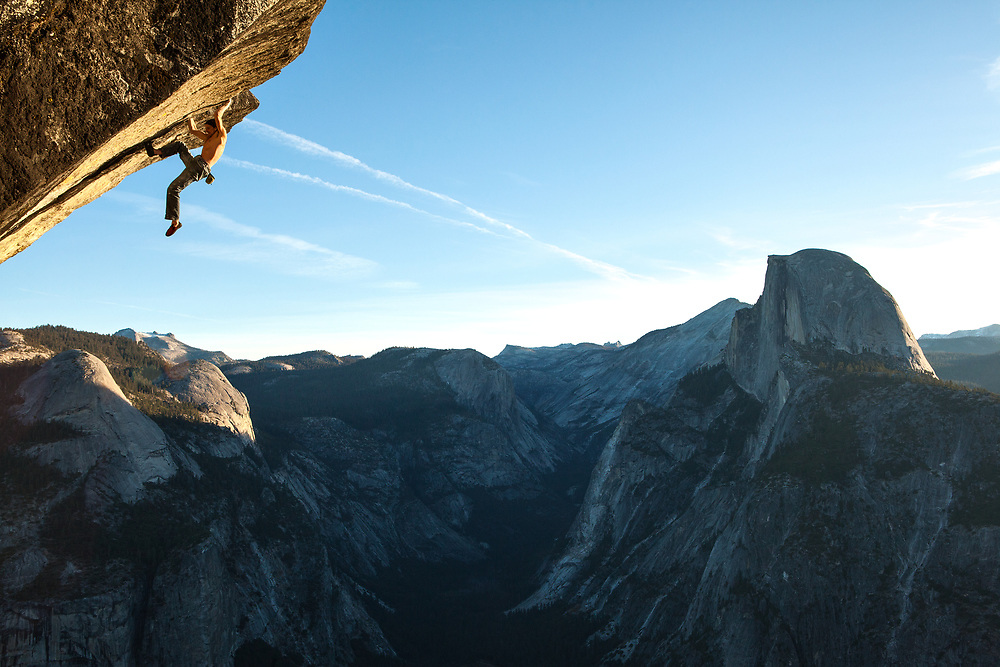 Dean Potter on Heaven, a steep and difficult roof climb a few thousand feet above the valley floor.