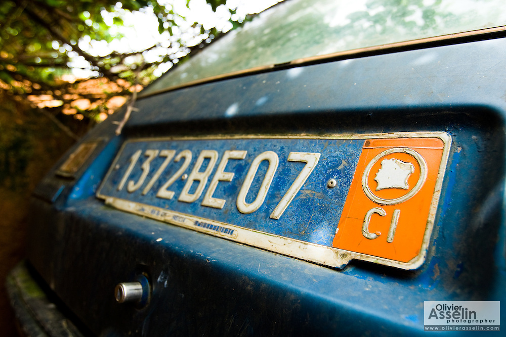 License plate on old car in Tano Akakro, Cote d'Ivoire on Saturday June 20, 2009.