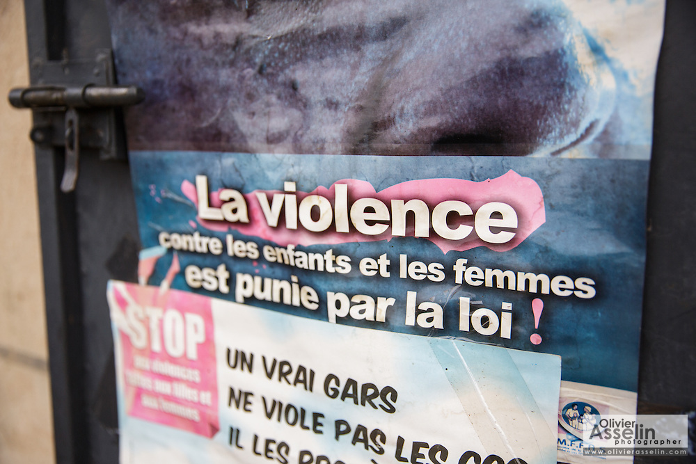 Poster denouncing violence against woman in the offices of UNICEF partner OIS Afrique in Katiola, Cote d'Ivoire on Saturday July 13, 2013.
