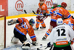 Matej Hocevar (HDD Tilia Olimpija, #14) shots on Mihal Fikrt (HK Acroni Jesenice, #37) during ice-hockey match between HK Acroni Jesenice and HDD Tilia Olimpija in 50th Round of EBEL league, on Februar 15, 2011 at Dvorana Podmezaklja, Jesenice, Slovenia. (Photo By Matic Klansek Velej / Sportida.com)
