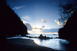 United States, Hawaii, Maui, Hana, sheltered cove at sunset, Red Sand Beach
