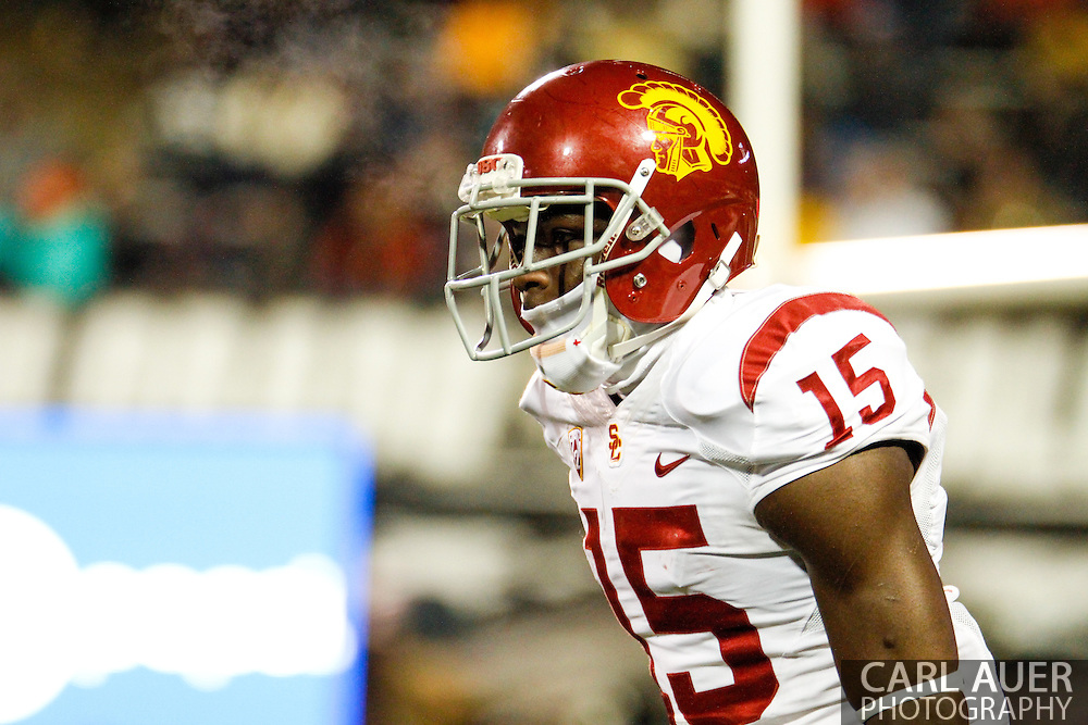 November 23rd, 2013:  USC Trojans sophomore wide receiver Nelson Agholor (15) during the NCAA Football game between the University of Southern California Trojans and the University of Colorado Buffaloes at Folsom Field in Boulder, Colorado