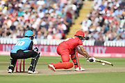 Lancashires Jos Buttler (Wicket Keeper) reverse sweep during the Vitality T20 Finals Day semi final 2018 match between Worcestershire Rapids and Lancashire Lightning at Edgbaston, Birmingham, United Kingdom on 15 September 2018.