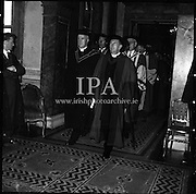 Conferring of Honorary Degrees by the National University at Iveagh House Dublin.<br /> 13.07.1961