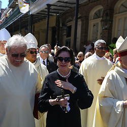 Gayle Benson during a second line following the funeral service for NFL New Orleans Saints owner and NBA New Orleans Pelicans owner Tom Benson in New Orleans, Friday, March 23, 2018. Benson died last Thursday at the age of 90. (AP Photo/Derick Hingle)