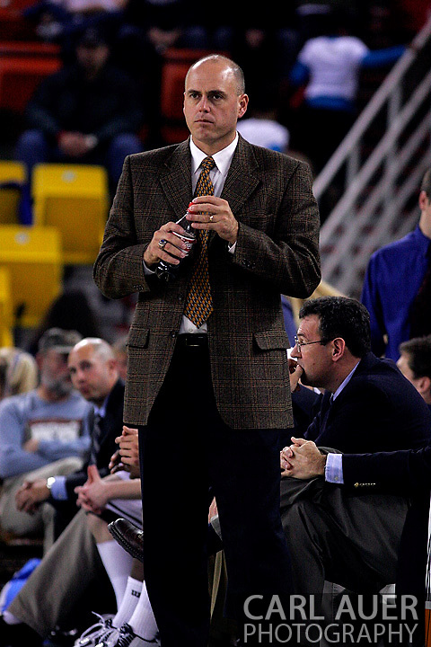 26 November 2005: Dave Calloway, head coach of the Monmouth Hawks in their 54-62 loss to Oral Roberts University at the Great Alaska Shootout in Anchorage, Alaska