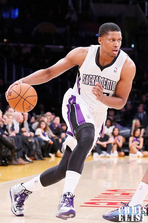 28 February 2014: Sacramento Kings small forward Rudy Gay (8) dribbles during the Los Angeles Lakers 126-122 victory over the Sacramento Kings at the Staples Center, Los Angeles, California, USA.