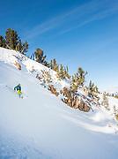 Skiing the chutes while Cat Skiing Soldier Mountain, Fairfield, Idaho.