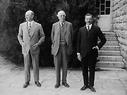 Lord Balfour's visit to the Hebrew University, Jerusalem, Palestine 1925.  Arthur James Balfour (1848–1930) British statesman with Herbert Samuel (1870-1963) British politician and diplomat, and General Allenby.