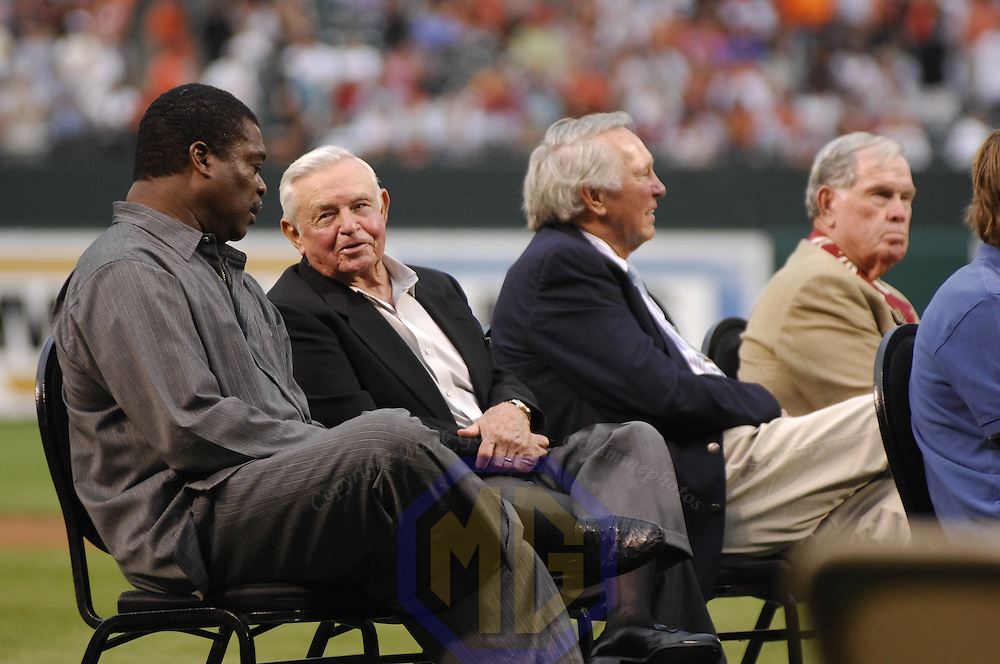 12 July 2007: Sitting left to right former Baltimore Orioles Hall of Fame first baseman Eddie Murray, former manager Earl Weaver, third baseman Brooks Robinson and pitcher Robin Roberts attend the Hall of Fame Send-Off ceremony honoring former Orioles player Cal Ripken,Jr. prior to the game between the Tampa Bay Devil Rays and the Baltimore Orioles.  Ripken will be inducted to the Baseball Hall of Fame Sunday, July 29.  The Orioles defeated the Devil Rays 3-0 at Camden Yards in Baltimore, MD.   ****For Editorial Use Only****.