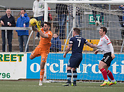 Clyde's (on loan from Dundee) goalkeeper Kyle Gourlay clutches a cross during Forfar's 3-0 win over Clyde in SPFL League Two  at Station Park, Forfar, Photo: David Young<br /> <br />  - &copy; David Young - www.davidyoungphoto.co.uk - email: davidyoungphoto@gmail.com