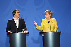 23.03.2015, Bundeskanzleramt, Berlin, GER, SPO, Merkel empfängt Tsipras, im Bild Alexis Tsipras (SYRIZA), griechischer Premierminister, und Bundeskanzlerin Angela Merkel (CDU) stehen Rede und Antwort, Empfang des griechischen Ministerpraesidenten Alexis Tsipras, Politik, 23.03.2015 // German Chancellor Angela Merkel welcomes Greek Prime Minister Alexis Tsipras at the Bundeskanzleramt in Berlin, Germany on 2015/03/23. EXPA Pictures © 2015, PhotoCredit: EXPA/ Eibner-Pressefoto/ Hundt<br /> <br /> *****ATTENTION - OUT of GER*****