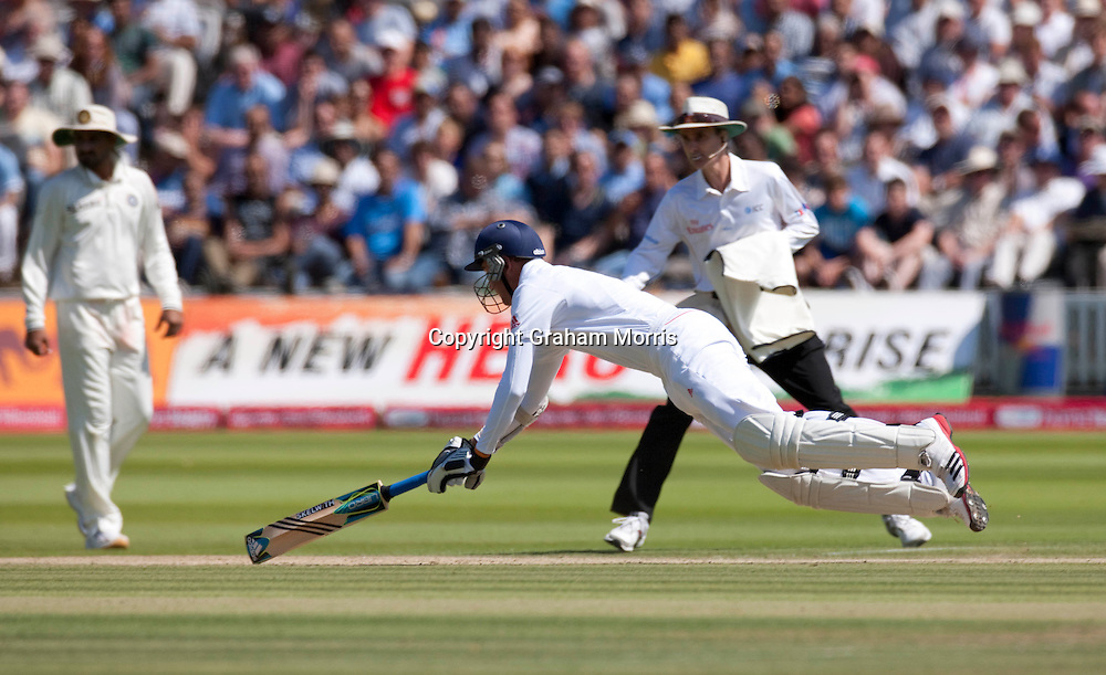 Stuart Broad in during the first npower Test Match between England and India at Lord's Cricket Ground, London.  Photo: Graham Morris (Tel: +44(0)20 8969 4192 Email: sales@cricketpix.com) 24/07/11