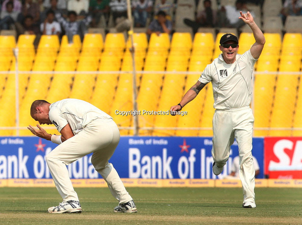 New Zealand Bowler Chris Martin Celebrates After Taking Indian Batsman Rahul Dravid Wicket During The India vs New Zealand 1st Test Match Played at Sardar Patel Stadium, Motera, Ahmedabad 7, November 2010 (5-day match)