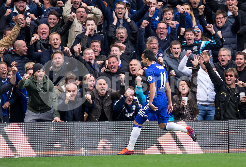 Pedro of Chelsea scores the 1st goal and celebrates during the Premier League match between Chelsea and Manchester United at Stamford Bridge, London, England on the 23rd October 2016. Photo by Liam McAvoy.