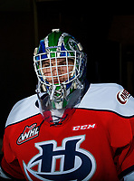 KELOWNA, CANADA - JANUARY 17: Logan Flodell #30 of the Lethbridge Hurricanes stands in the tunnel against the Kelowna Rockets on January 17, 2018 at Prospera Place in Kelowna, British Columbia, Canada.  (Photo by Marissa Baecker/Shoot the Breeze)  *** Local Caption ***