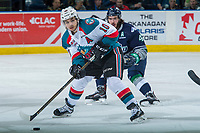 KELOWNA, CANADA - APRIL 30: Nick Merkley #10 of the Kelowna Rockets looks for the pass against the Seattle Thunderbirds on April 30, 2017 at Prospera Place in Kelowna, British Columbia, Canada.  (Photo by Marissa Baecker/Shoot the Breeze)  *** Local Caption ***