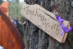 © Licensed to London News Pictures. 30/01/2016. Slough, UK. The formal opening of a wooden treehouse in memory of murder victim Alice Adams in Black Park, Wexham on Saturday 30th January. The 20-year-old was stabbed to death in August 2011 with her friend and co-worker Tibor Vass, at a staff flat behind the Radisson Edwardian Hotel near Heathrow Airport. The murderer was Attila Ban, aged 32,  who also worked at the hotel as a receptionist. After the death of Alice, her family created a charity called, Alice Adams Foundation, to raise money to build the treehouse. Photo credit should read: Emma Sheppard/LNP