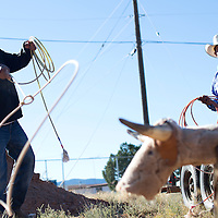 100214      Cayla Nimmo<br /> <br /> Leander Boone practices his roping outside the Beclabito chapter house Thursday afternoon.