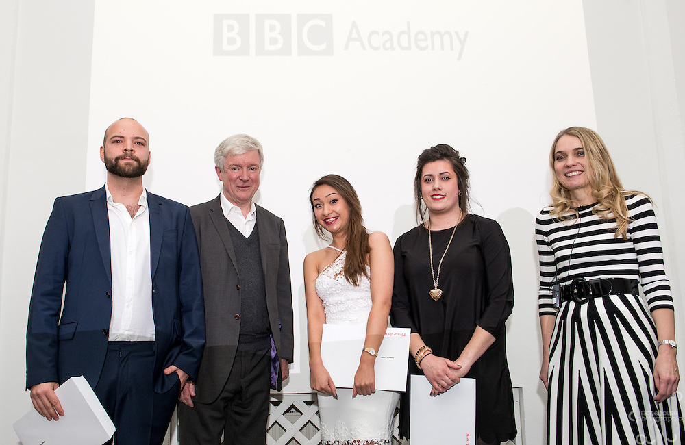 BBC DG Tony Hall and NCTJ Chief Executive Joanne Butcher percent certificates to students at the BBC Academy Local Apprenticeship Scheme Awards 2016 at The Custard Factory, Old Library, Birmingham, 24th, February.2016<br /> <br /> Michelle Dowd, Rebecca Turner, Robby West.