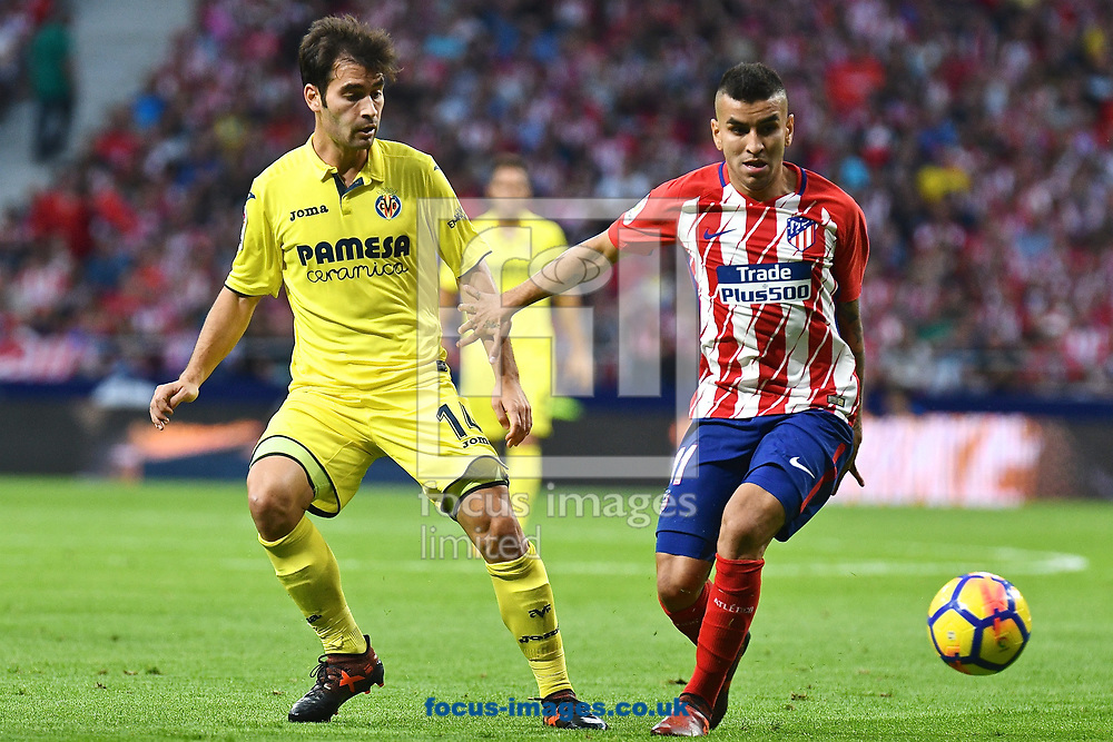 Manu Trigueros of Villareal (left) and &Aacute;ngel Correa of Atletico Madrid i during the La Liga match at the Wanda Metropolitano Stadium, Madrid<br /> Picture by Kristian Kane/Focus Images Ltd +44 7814 482222<br /> 28/10/2017