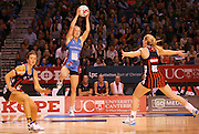 Shannon Francois of the Steel gathers the ball during the ANZ Championship Netball game between the Tactix v Steel at Horncastle Arena in Christchurch. 6th April 2015 Photo: Joseph Johnson/www.photosport.co.nz