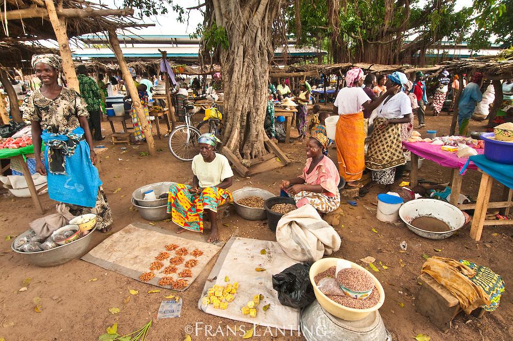 Women selling food at makrtet, Wechiau, Ghana