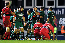 Blaine Scully celebrates with Leicester Tigers team-mate Owen Williams at the final whistle - Photo mandatory by-line: Patrick Khachfe/JMP - Mobile: 07966 386802 07/12/2014 - SPORT - RUGBY UNION - Leicester - Welford Road - Leicester Tigers v Toulon - European Rugby Champions Cup