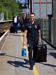 RUNCORN, ENGLAND - Tuesday, May 22, 2018: Wales' masseur Chris Senior at Runcorn Station as the squad travel by train as they head to Heathrow for a flight to Los Angeles ahead of the international friendly match against Mexico. (Pic by David Rawcliffe/Propaganda)