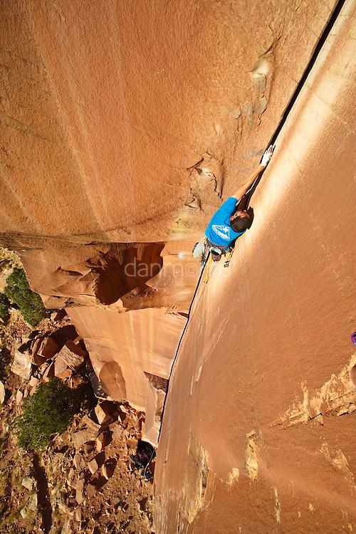 Josh Morris Climbing on The Incredible Hand Crack, 5.10, Indian Creek, Utah